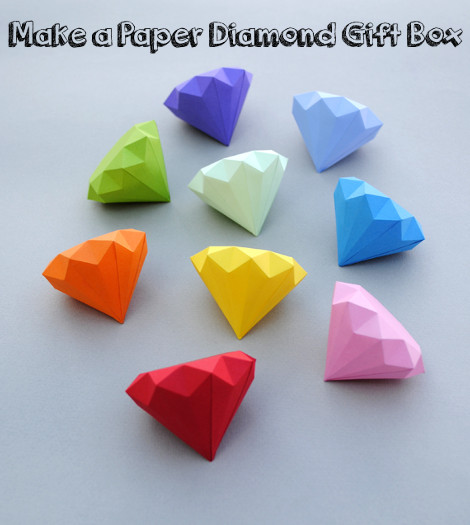 Make A 3D Paper Diamond Gift Box